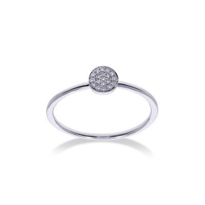 Circle Stackable Ring in White Gold with Diamonds