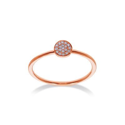 Cirkel stapelbare ring in roségoud met diamanten