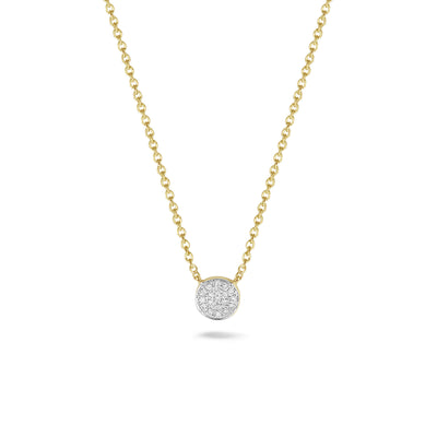 Circle Necklace in Yellow Gold with Diamonds