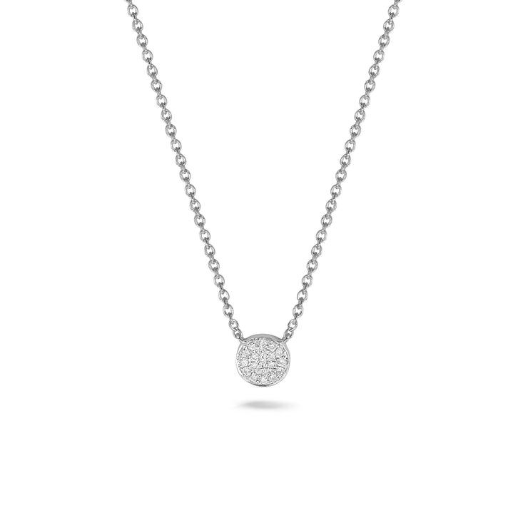 Circle Necklace in White Gold with Diamond