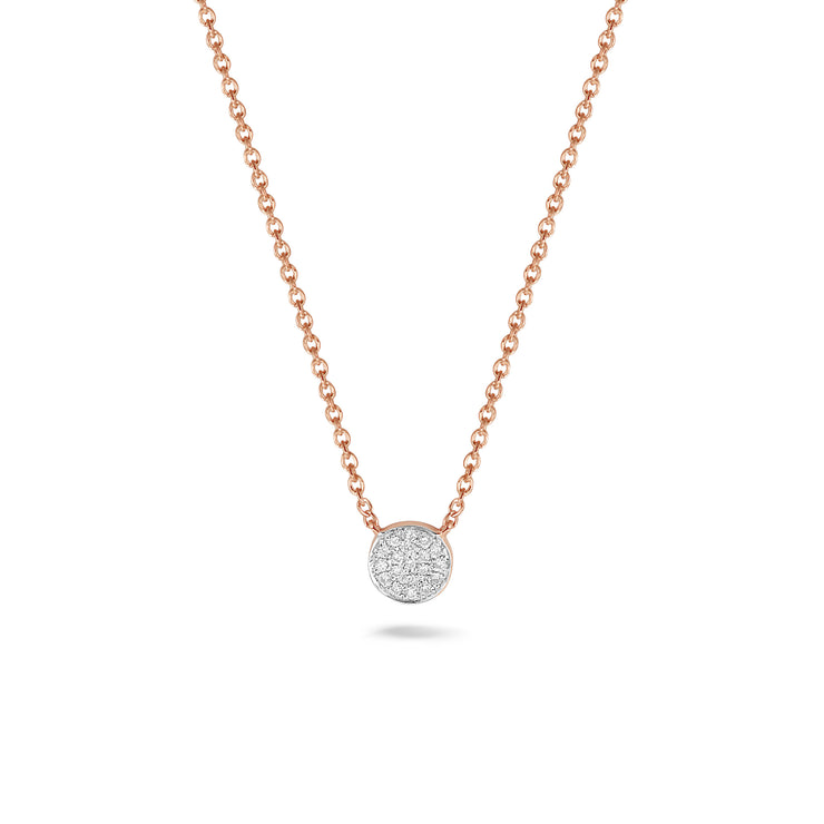 Circle Necklace in Rose Gold with Diamonds