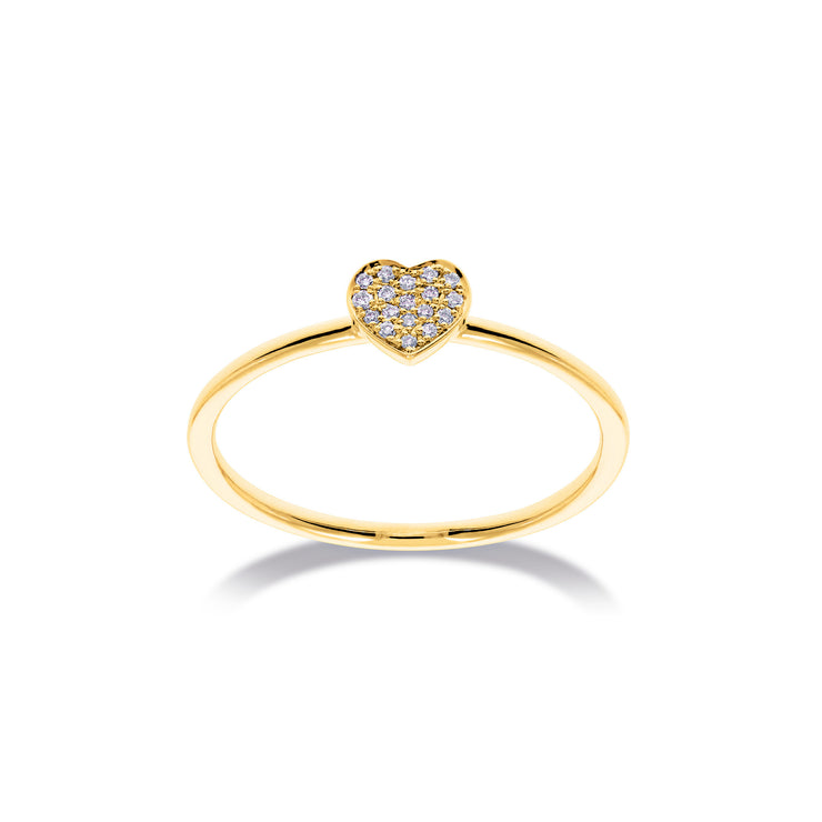 Heart Stackable Ring in Yellow Gold with Diamonds