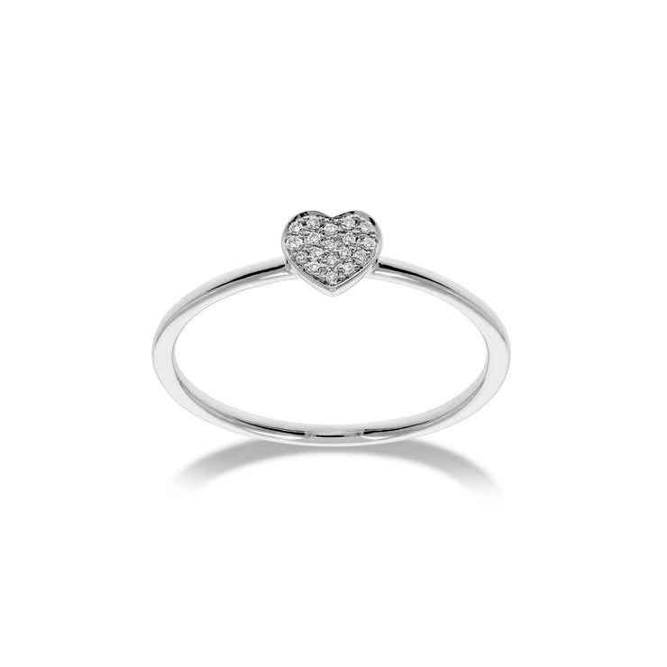 Heart Stackable Ring in White Gold with Diamonds