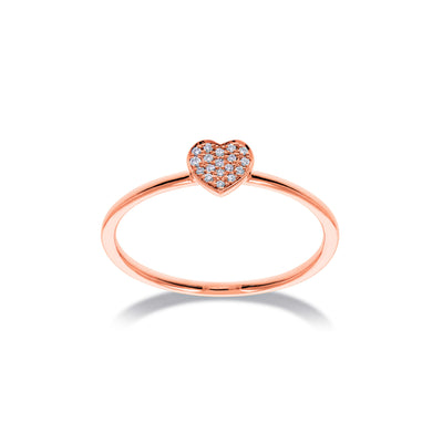 Hart stapelbare ring in roségoud met diamanten