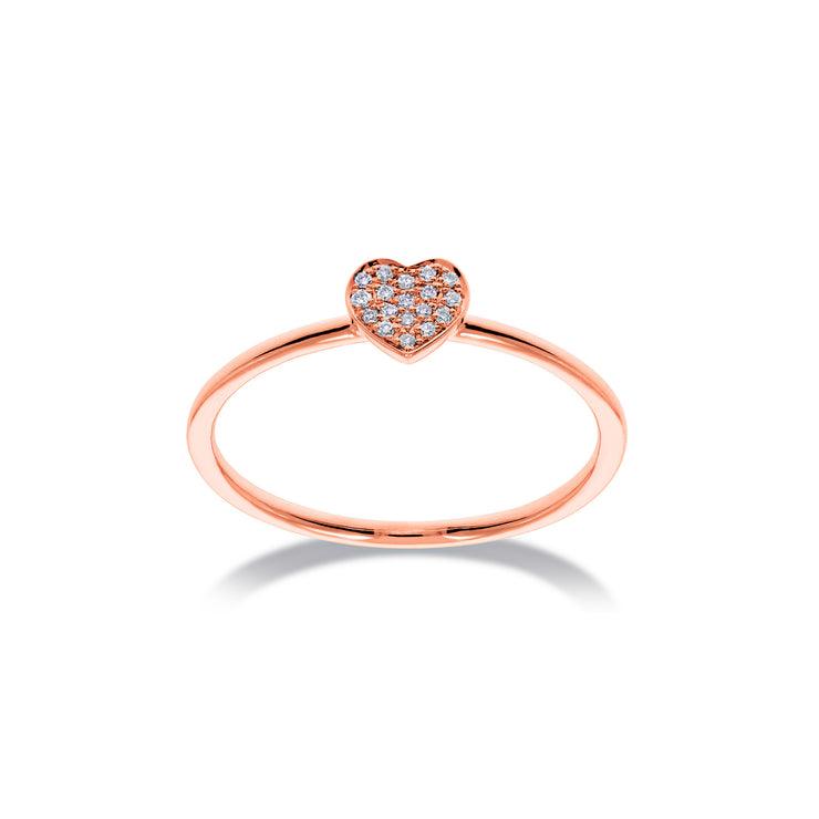 Heart Stackable Ring in Rose Gold with Diamonds