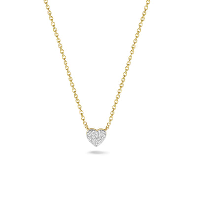 Heart Necklace in Yellow Gold with Diamonds