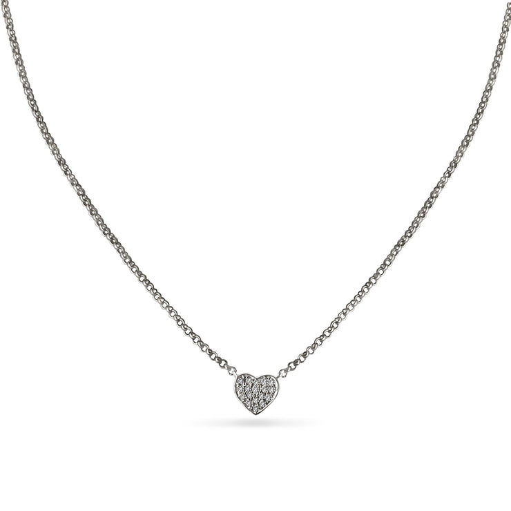 Heart Necklace in White Gold with Diamonds
