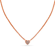 Heart Necklace in Rose Gold with Diamonds