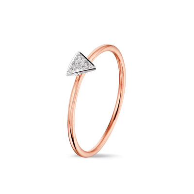 Triangle Stackable Ring in Rose Gold with Diamond