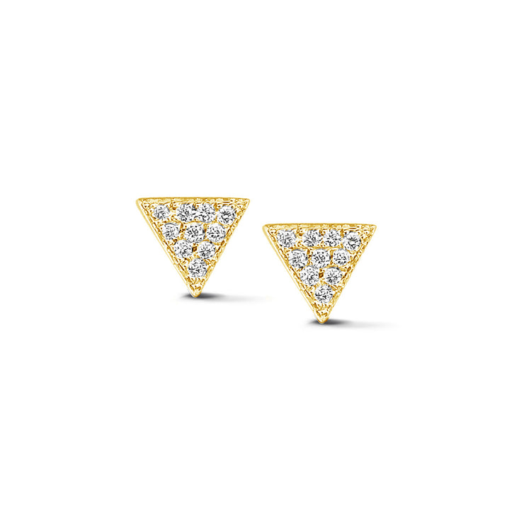 Triangle Ear Studs in Yellow Gold with Diamond