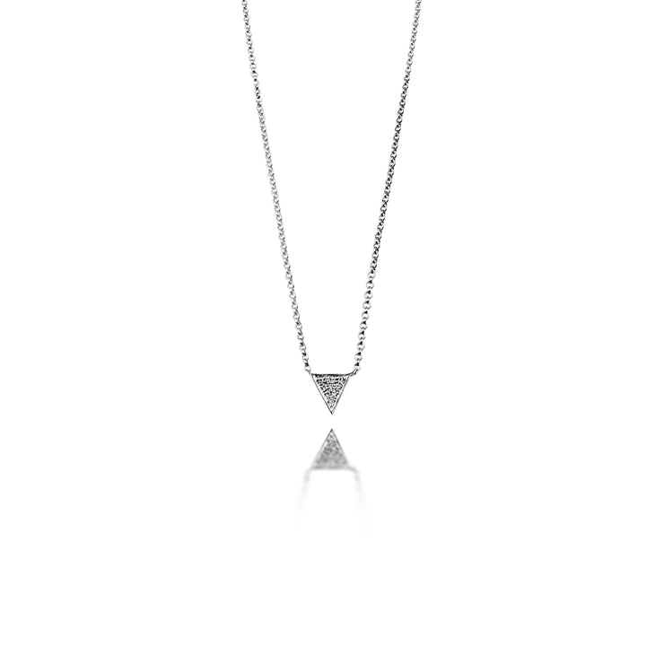 Triangle Necklace in White Gold with Diamond