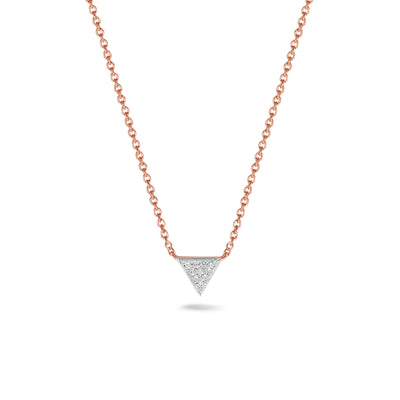Triangle ketting in roségoud met diamant