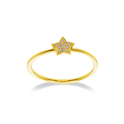 Star Stackable Ring in Yellow Gold with Diamond