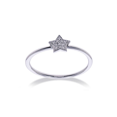 Star Stackable Ring in White Gold with Diamond