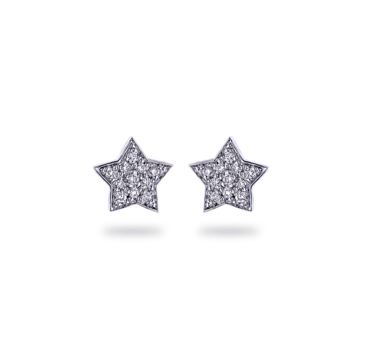 Star Ear Studs in White Gold with Diamond