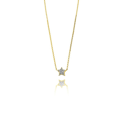 Star Necklace in Yellow Gold with Diamond