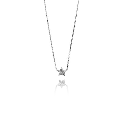Star Necklace in White Gold with Diamond