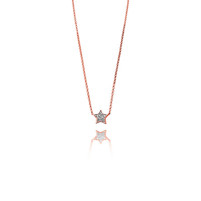 Star Necklace in Rose Gold with Diamond