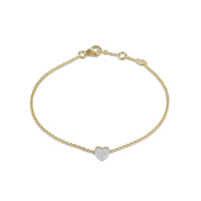 Heart Bracelet in Yellow Gold with Diamond