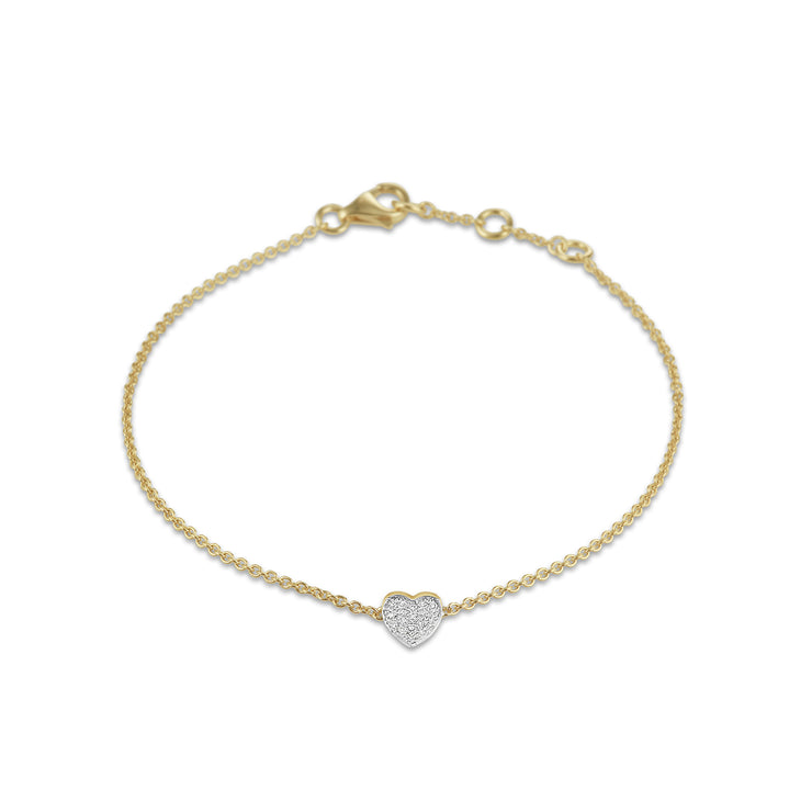 Heart Bracelet in Yellow Gold with Diamonds