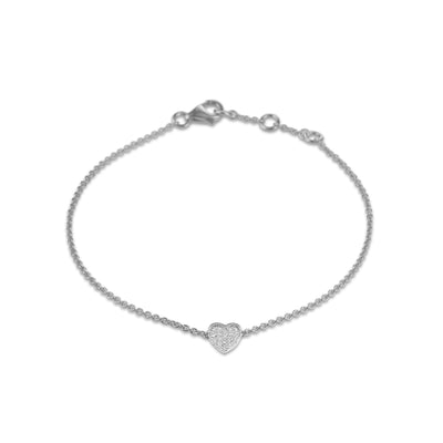 Heart Bracelet in White Gold with Diamond