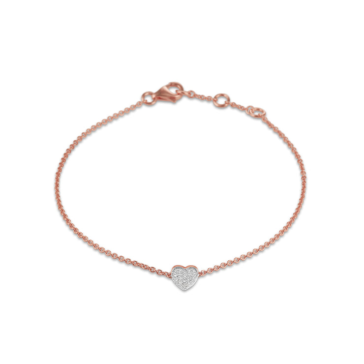 Heart Bracelet in Rose Gold with Diamonds