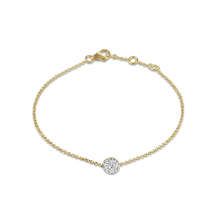 Circle Bracelet in Yellow Gold with Diamond