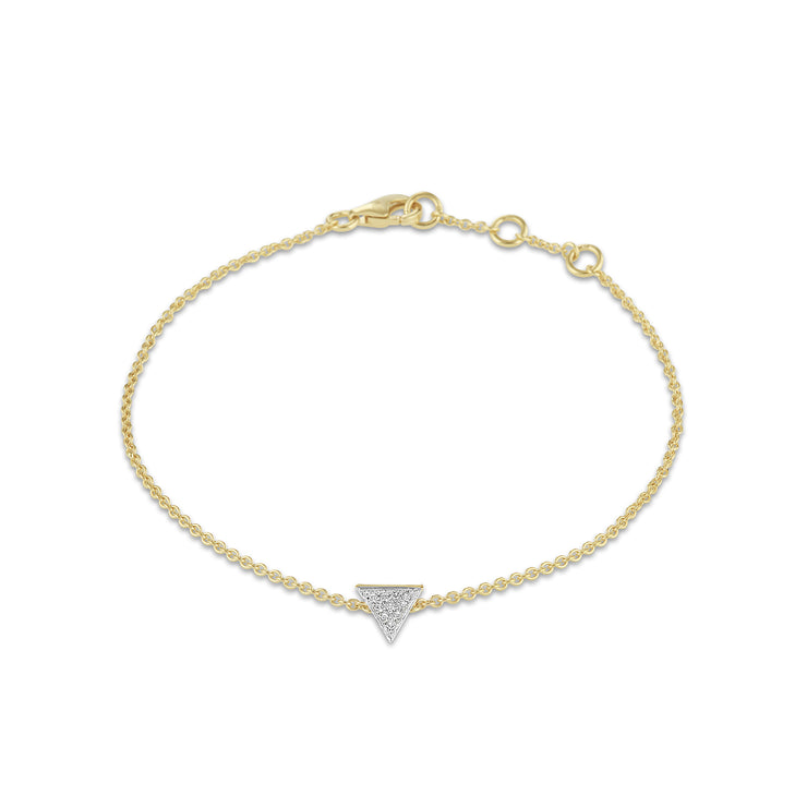 Triangle Bracelet in Yellow Gold with Diamond