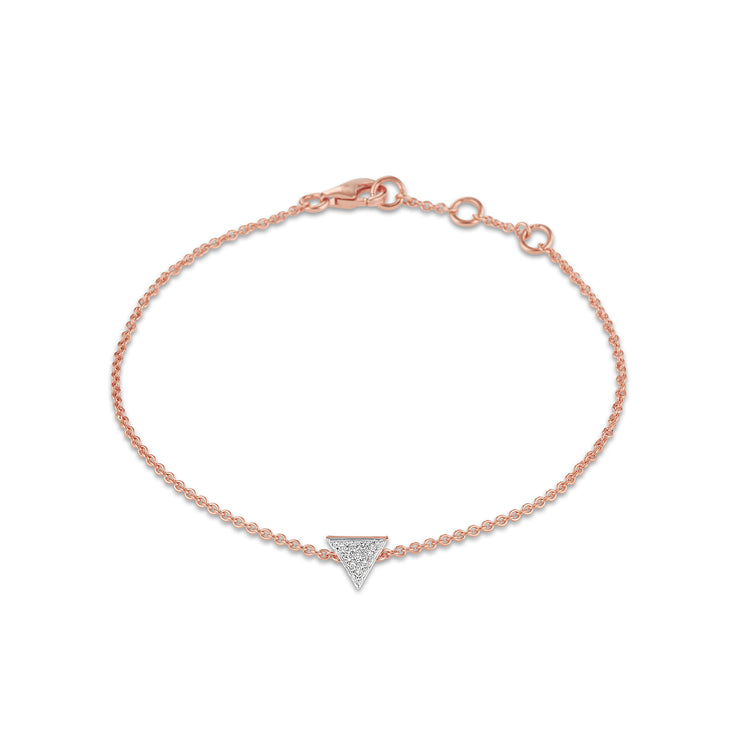Triangle Bracelet in Rose Gold with Diamond