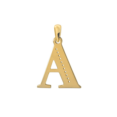 Uppercase Initial Pendant in Yellow Gold A