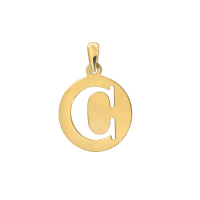Uppercase Initial Pendant in Yellow Gold C