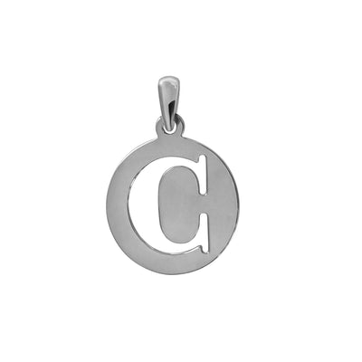 Uppercase Initial Pendant in White Gold C