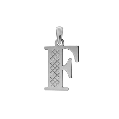 Uppercase Initial Pendant in White Gold F