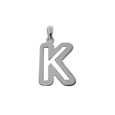 Uppercase Initial Pendant in White Gold K