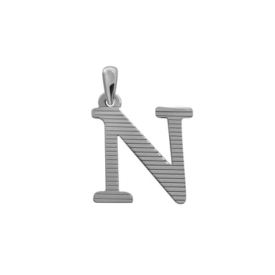 Uppercase Initial Pendant in White Gold N