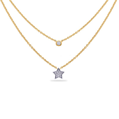 Layered Star Necklace in Yellow Gold with Diamond