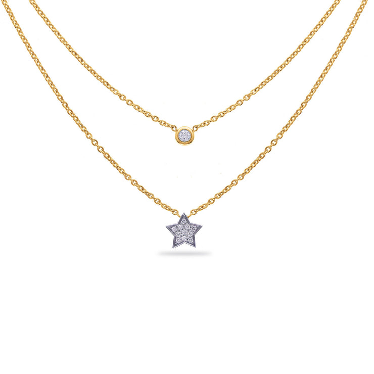 Layered Star Necklace in Yellow Gold with Diamonds
