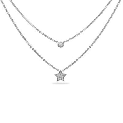 Layered Star Necklace in White Gold with Diamond