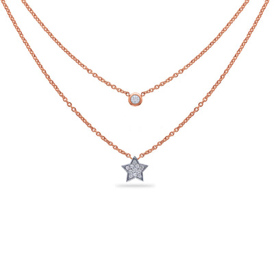 Layered Star Necklace in Rose Gold with Diamond