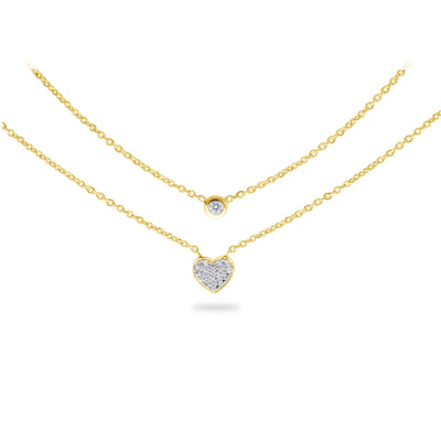 Layered Heart Necklace in Yellow Gold with Diamond