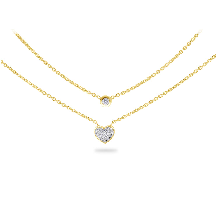 Layered Heart Necklace in Yellow Gold with Diamonds