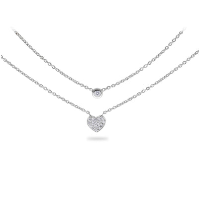 Layered Heart Necklace in White Gold with Diamonds