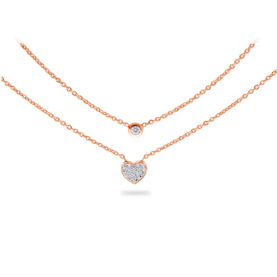 Layered Heart Necklace in Rose Gold with Diamonds