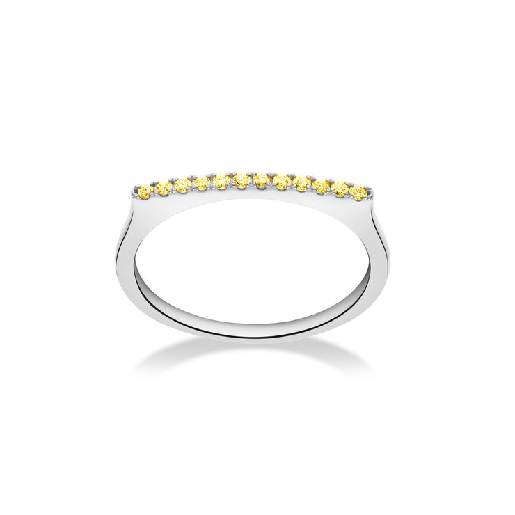 Stackable Bar Ring in White Gold with Yellow Sapphires