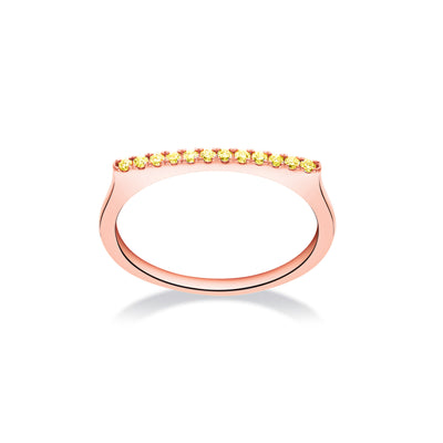 Stackable Bar Ring in Rose Gold with Yellow Sapphires