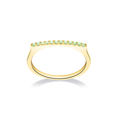 Stackable Bar Ring in Yellow Gold with Green Garnets