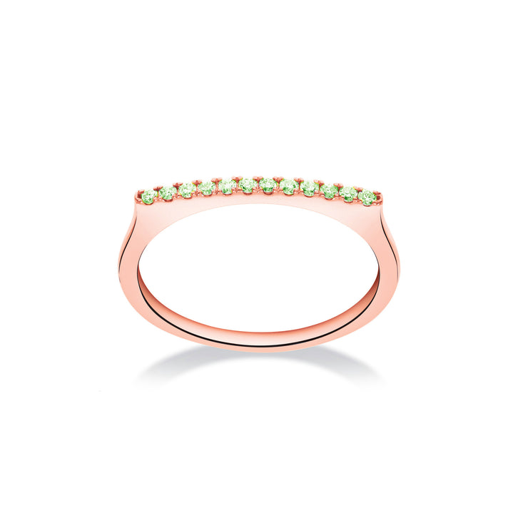 Stackable Bar Ring in Rose Gold with Green Garnets