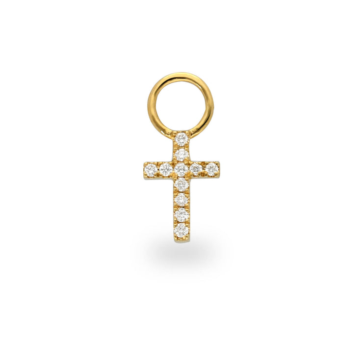 Cross Huggie Charm in Yellow Gold with Diamonds