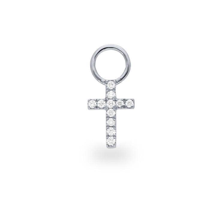 Cross Huggie Charm in White Gold with Diamonds
