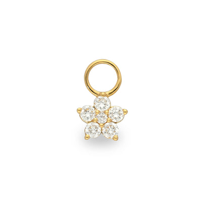 Floral Huggie Charm in Yellow Gold with Diamonds